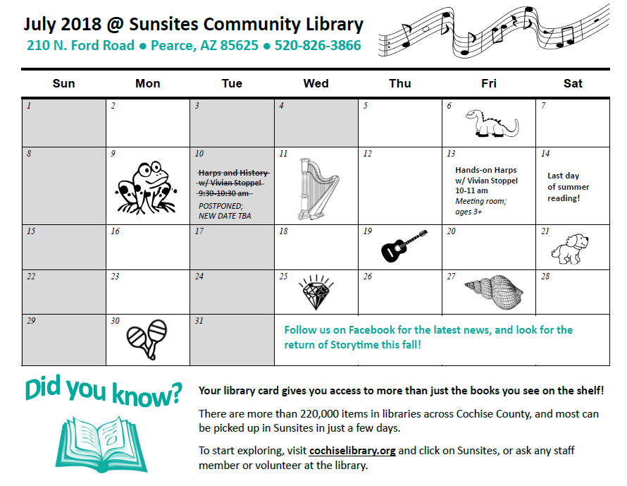 Sunsites Community Library July 2018 events
