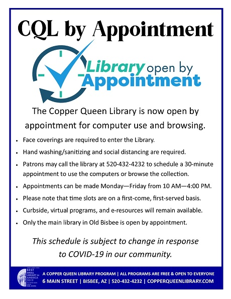 Graphic explaining CQL's Library by Appointment service