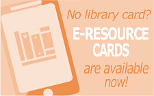 Orange tablet with e-resource card text
