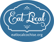 Eat Local Cochise logo on blue