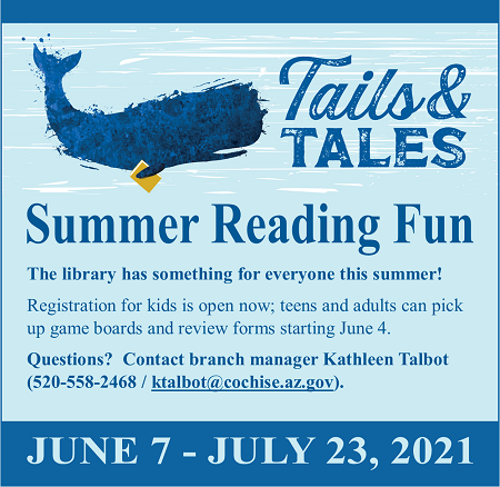 Blue summer reading graphic with whale