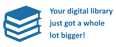 Blue books with digital library slogan