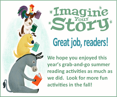 End of summer reading graphic with animals
