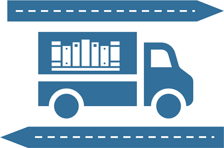 blue courier truck with books