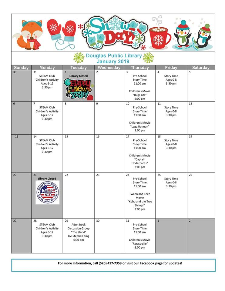 Douglas Public Library January 2019 Events