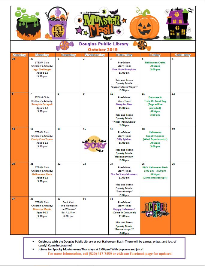 Douglas Public Library October 2019 Events