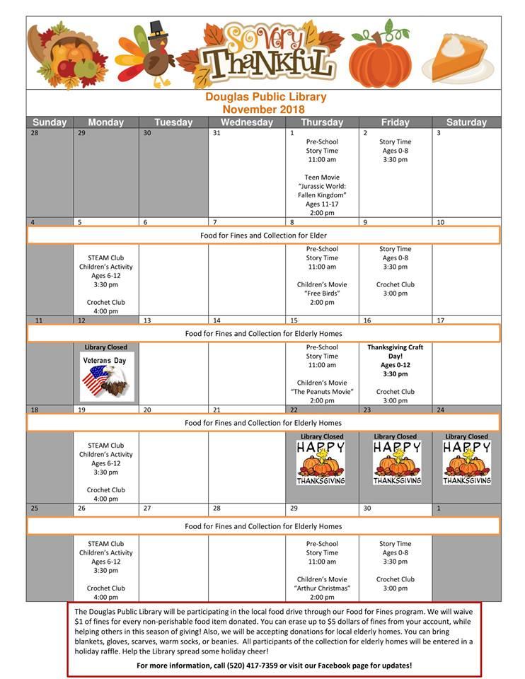 Douglas Public Library November 2018 Events