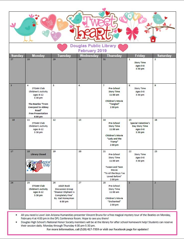 Douglas Public Library February 2019 Events