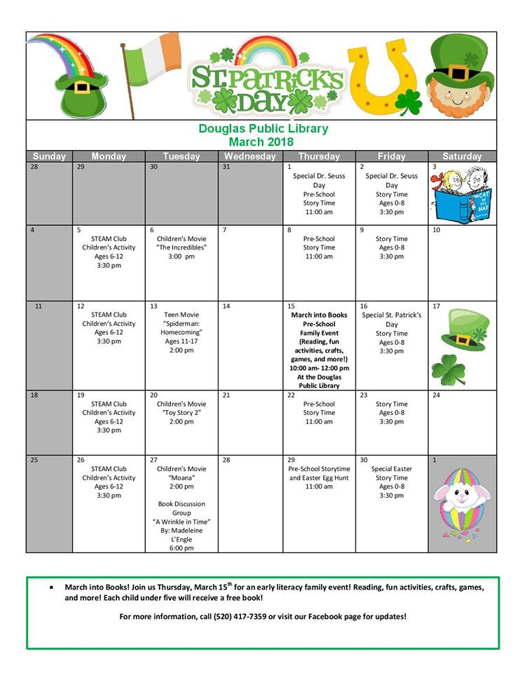 Douglas Public Library March 2018 Events