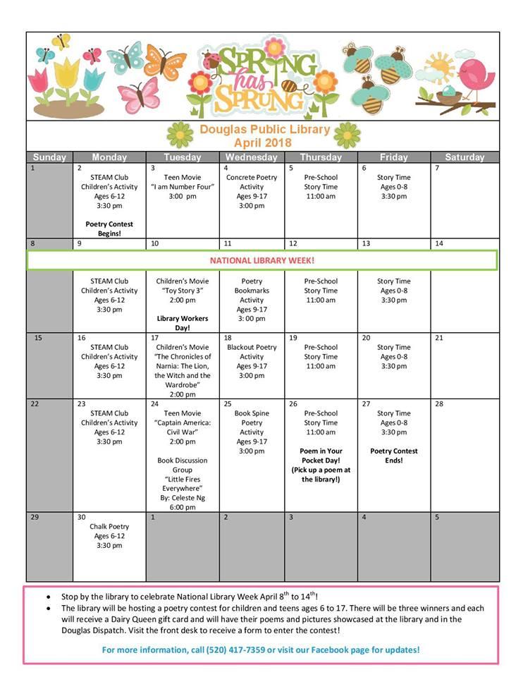 Douglas Public Library April 2018 Events