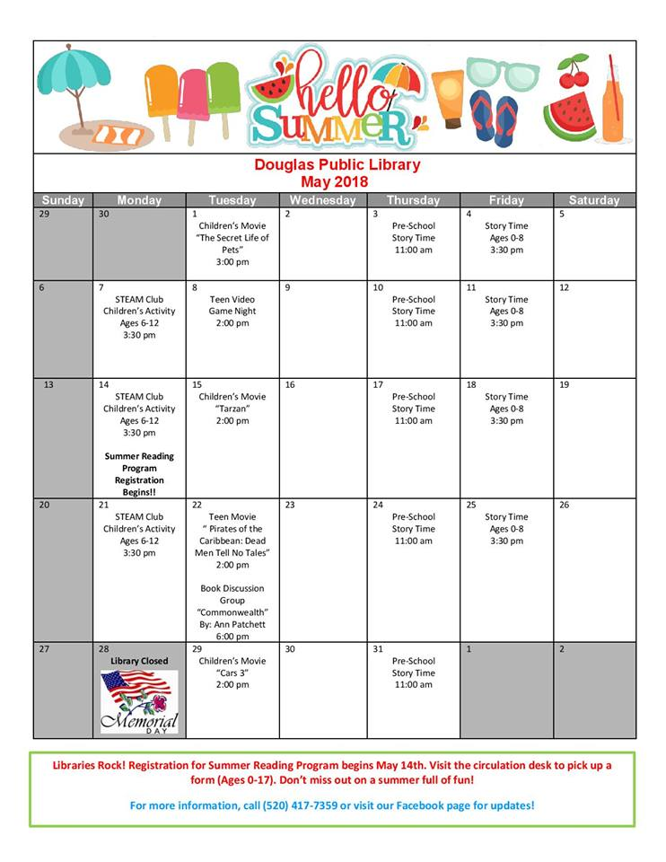 Douglas Public Library May 2018 Events