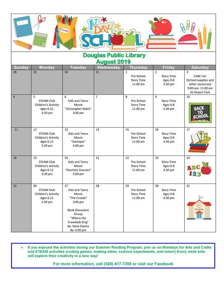 Douglas Public Library August 2019 Events