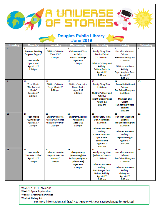 Douglas Public Library June 2019 Events