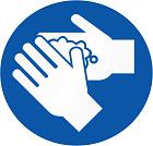 Blue hand washing icon